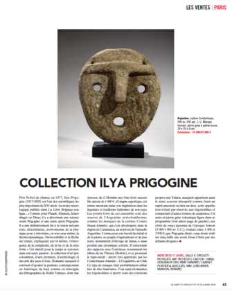Gazette Drouot, n°14 - Vente collection Ilya Prigogine - Castor Hara le 11 avril 2018